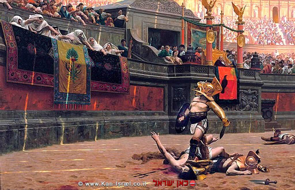 וליס ורסו(עם האגודל) ציור של האמן הצרפתיז'אן ליאון ג'רום, המציג אתהמחווה הרומית המזוההעםגלדיאטוריםמנצחים   צילום: ויקיפדיה